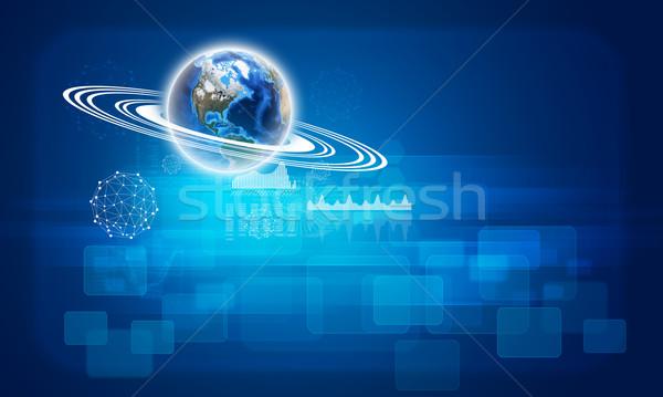 Terra grafici wireframe sfere elemento immagine Foto d'archivio © cherezoff