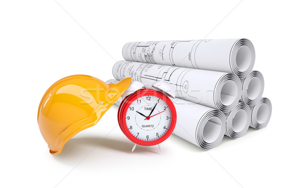 Scrolls of architectural drawings and alarm clock with helmet Stock photo © cherezoff