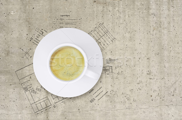 Technical plan of building and coffee cup Stock photo © cherezoff