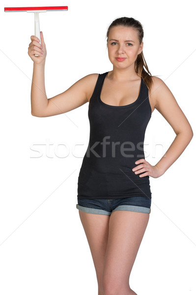 Woman holding squeegee Stock photo © cherezoff