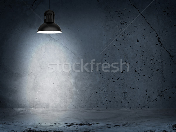 Concrete gray wall and lamp with directional light Stock photo © cherezoff