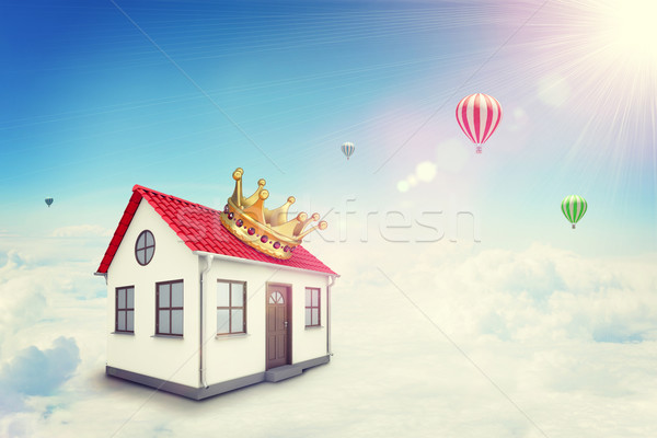 White house with red roof and crown in cloud. Background sun shines brightly, flying hot air balloon Stock photo © cherezoff