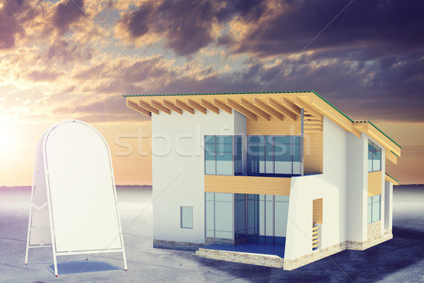 Hands holding cottage with windows, near sidewalk sign. Background sun shines brightly Stock photo © cherezoff