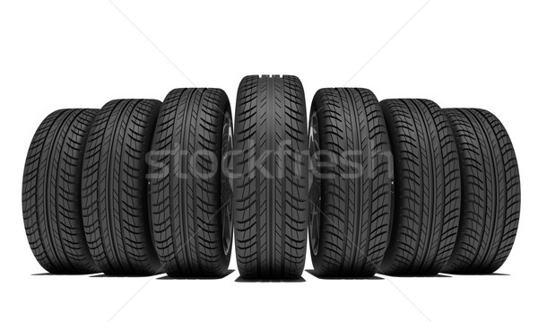 Wedge of new car wheels. Isolated on white background Stock photo © cherezoff