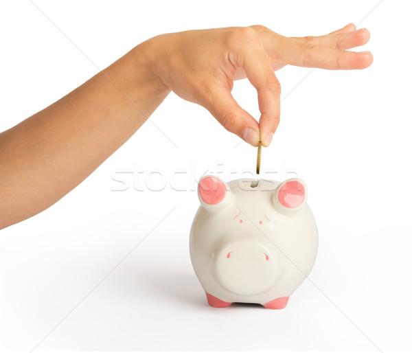 Piggy bank with humans hand Stock photo © cherezoff