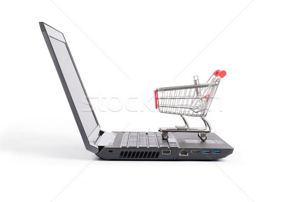 Bevásárlókocsi laptop oldalnézet izolált fehér billentyűzet Stock fotó © cherezoff