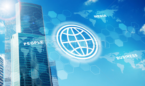 High-rise buildings with globe symbol Stock photo © cherezoff