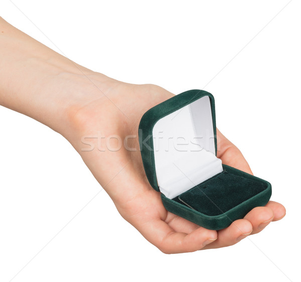Open empty ring box in humans hand Stock photo © cherezoff
