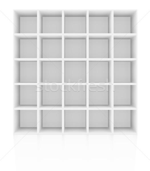 пусто белый книжная полка изолированный 3D Сток-фото © cherezoff