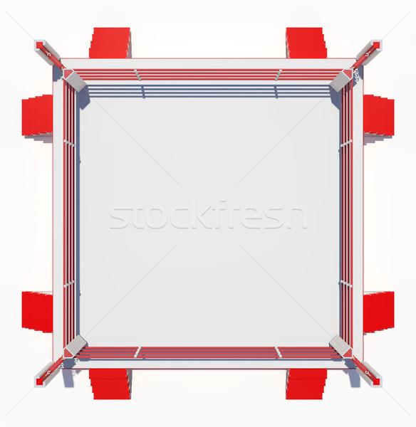 Boxe anneau isolé blanche haut vue Photo stock © cherezoff
