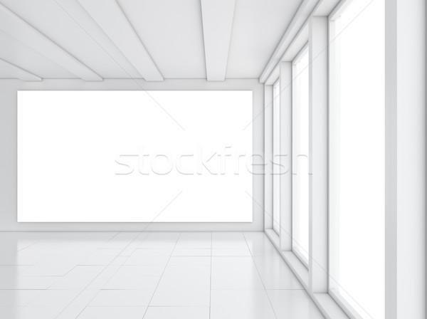 Lege galerij interieur licht Windows 3d illustration Stockfoto © cherezoff