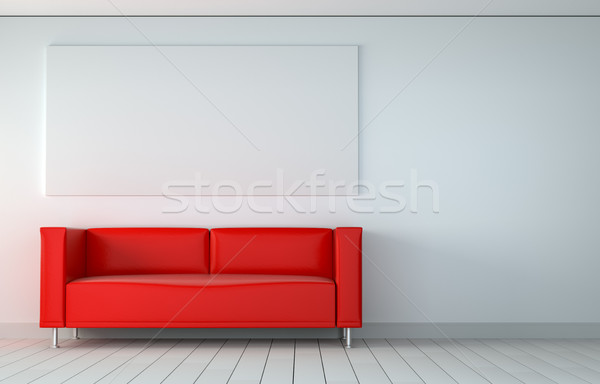 Mock up poster in room with sofa Stock photo © cherezoff