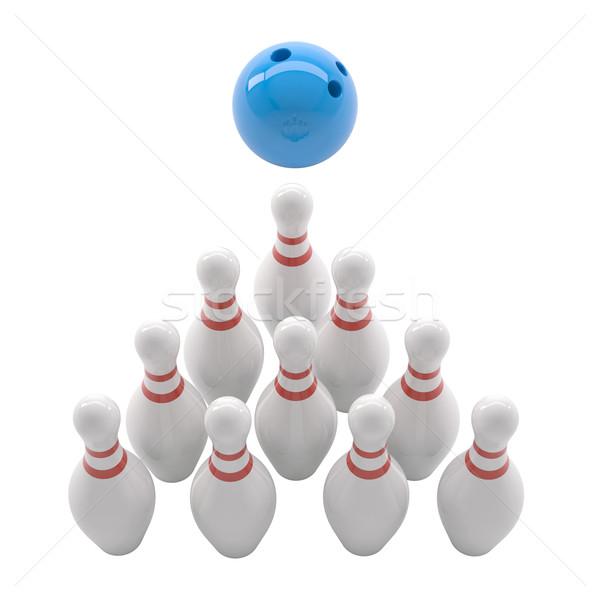 Blau Bowlingkugel isoliert weiß Hintergrund Stock foto © cherezoff