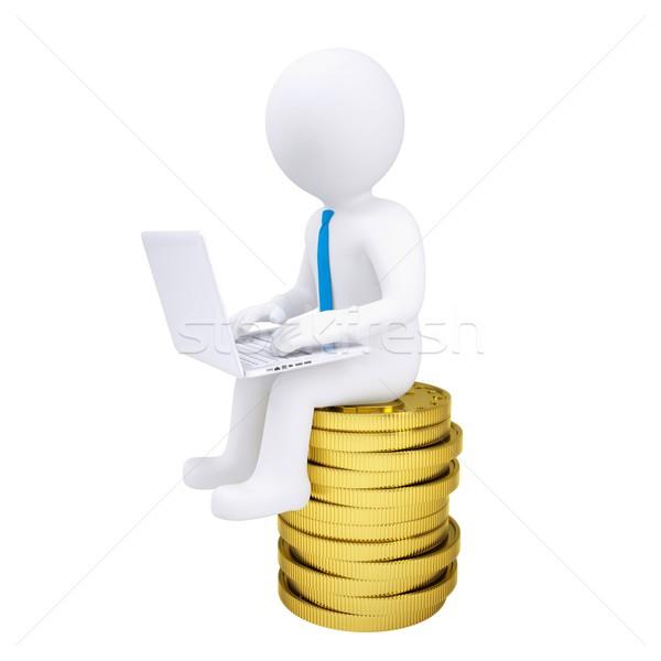 Mężczyzna 3d laptop posiedzenia złote monety odizolowany Zdjęcia stock © cherezoff