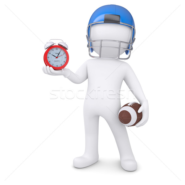 3d man in football helmet holds red alarm clock Stock photo © cherezoff