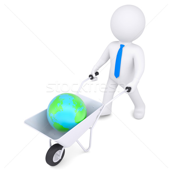 3D blanke man kruiwagen aarde geïsoleerd geven Stockfoto © cherezoff