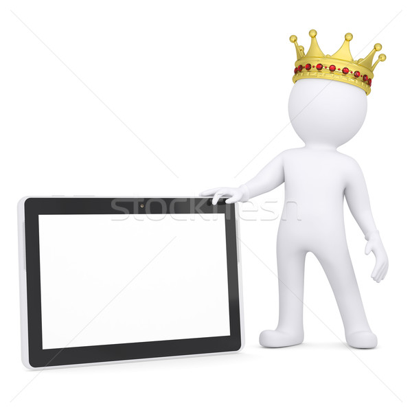 3d white man with a crown holding a tablet PC Stock photo © cherezoff