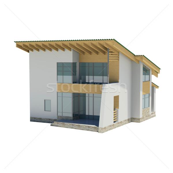 Stockfoto: Houten · huis · groene · dak · geïsoleerd · geven