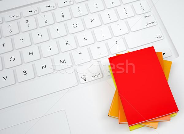 Csoport könyvek billentyűzet felülnézet könyv terv Stock fotó © cherezoff