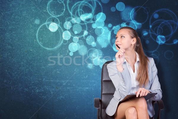 Vrouw jas blouse stoel abstract Stockfoto © cherezoff