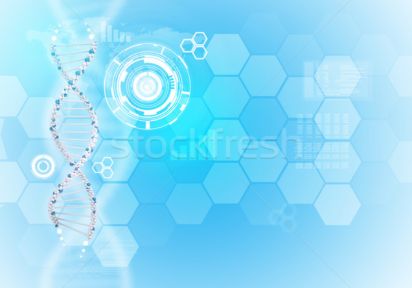 Human DNA. Background of white ring with hexagons and world map Stock photo © cherezoff
