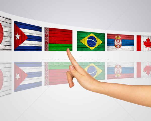 Flags of several countries. Virtual screens Stock photo © cherezoff