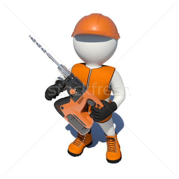 Worker in vest, shoes and helmet holding electric perforator. Top view Stock photo © cherezoff