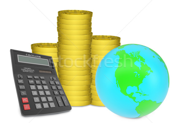 Piles of gold coins with Earth and calculator Stock photo © cherezoff