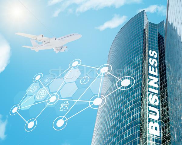 Negócio edifício ícones do computador jato mapa do mundo blue sky Foto stock © cherezoff