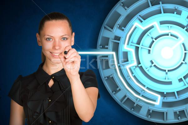 üzletasszony ír holografikus képernyő nő labirintus Stock fotó © cherezoff
