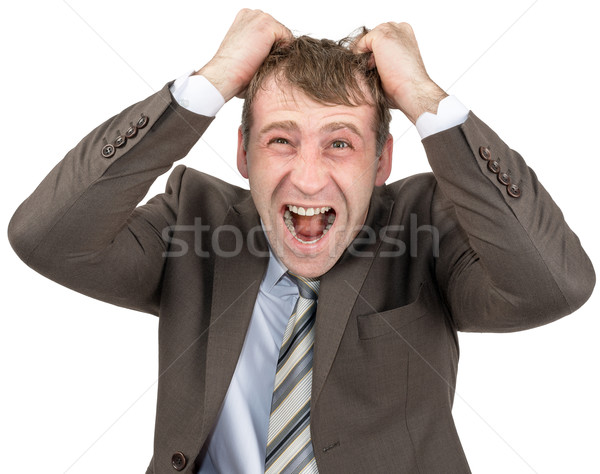 Screaming businessman tearing his hair Stock photo © cherezoff
