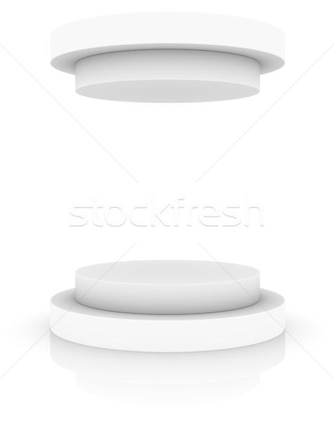 Vuota bianco podio cap isolato 3D Foto d'archivio © cherezoff