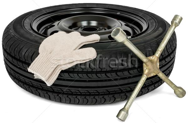 Band schroevendraaier witte handschoen auto dienst Stockfoto © cherezoff