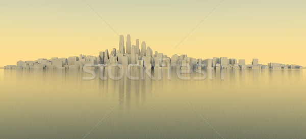 White city with sky and sea. Evening time Stock photo © cherezoff