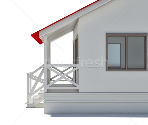 Ház közelkép fedett veranda ablak izolált Stock fotó © cherezoff