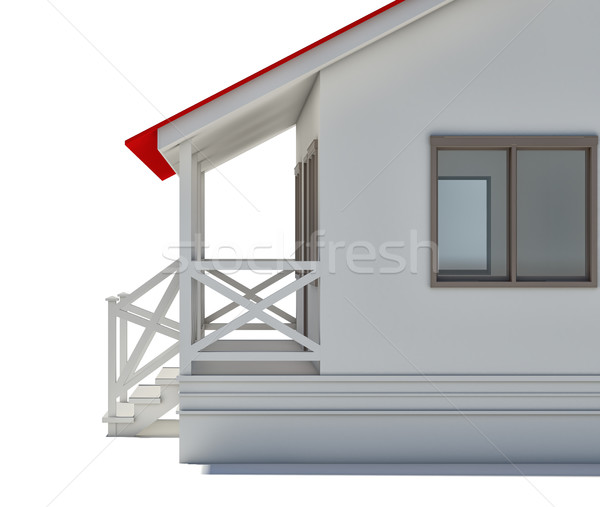 Casa coberto varanda janela isolado Foto stock © cherezoff