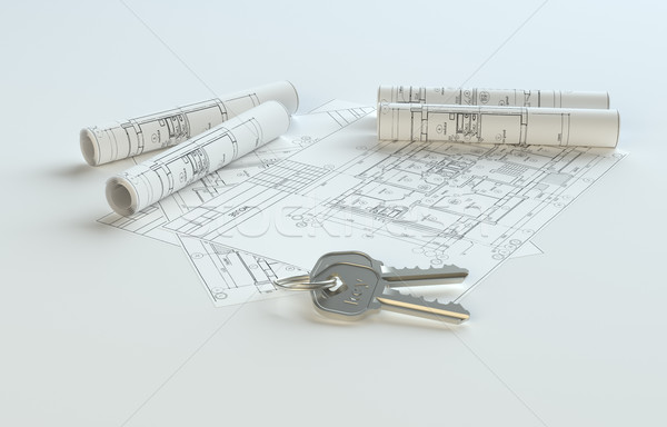 Blueprints with keys, copy space for your content Stock photo © cherezoff