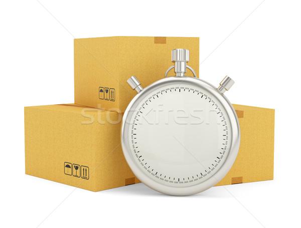 Chronomètre paquet blanche livraison express 3d illustration Photo stock © cherezoff