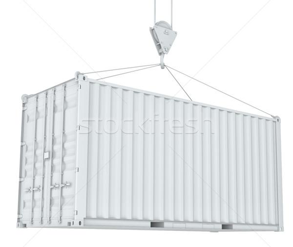 White cargo container on hook Stock photo © cherezoff