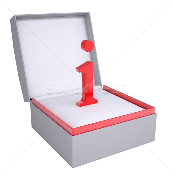 Letter i Open geschenkdoos 3d render geïsoleerd witte Stockfoto © cherezoff