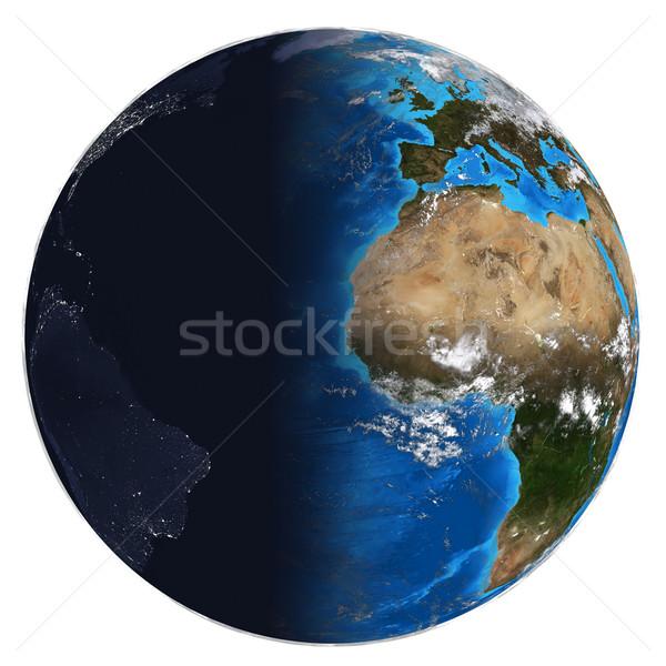 Photorealistic Earth. Day and night Stock photo © cherezoff