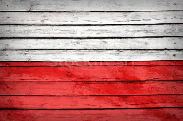 Lengyelország zászló festett fából készült grunge stílus Stock fotó © cherezoff