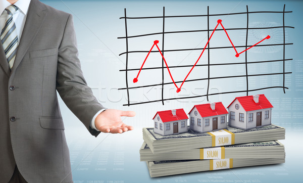 Businessman points hand on houses and money Stock photo © cherezoff