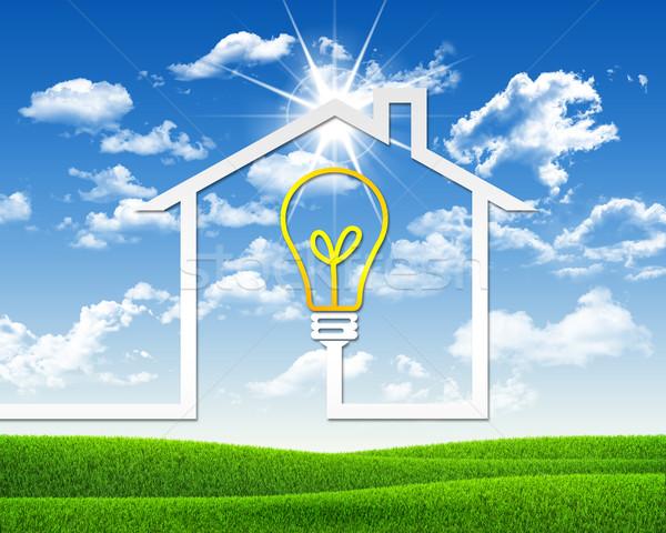 Symbol of light bulb and house Stock photo © cherezoff