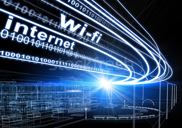 Wire-frame building, light beams, digits and words wi-fi, internet, on dark background Stock photo © cherezoff