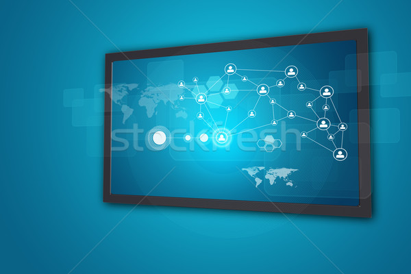 Touchscreen display with network of person icons and other elements Stock photo © cherezoff
