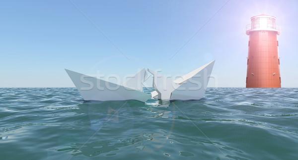 Broken paper boat in sea Stock photo © cherezoff