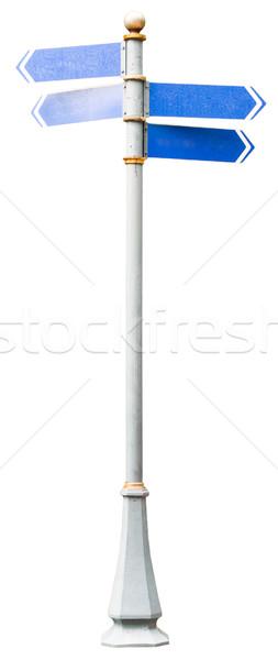 Mavi tabelasını yalıtılmış beyaz üç Stok fotoğraf © cherezoff