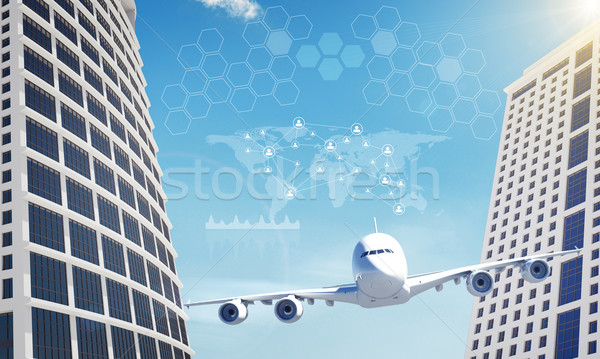 Two business centers with graphs  Stock photo © cherezoff