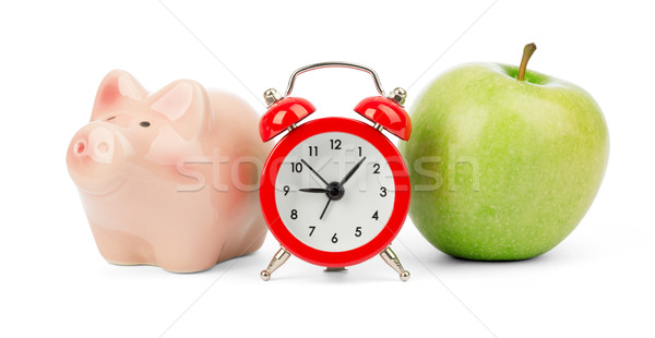 Friss alma ébresztőóra persely izolált fehér Stock fotó © cherezoff